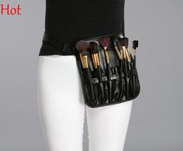 Wholesale Leather Makeup Brush Case - Professional Cosmetic Makeup Brush Case Leather Bag Artist Belt Strap Protable Make Up Bag Holder 12 Pockets Brush Case Black Waist SV011164