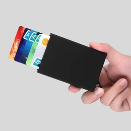 Wholesale Automatic Wallet - Automatic Pop Up Click Slide Card Holder Thin Metal Card Protector Cases Slim Aluminium Credit Card Holder Wallet