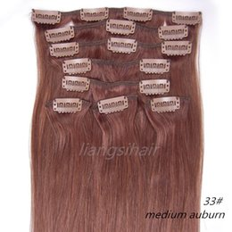 "Wholesale remy 33 - 18""-26"" 80g 100g 120g 8pcs 33# Medium Auburn Clip in Hair Straight Brazilian Indian Peruvian Malaysian Virgin Remy Human Hair Extensions"