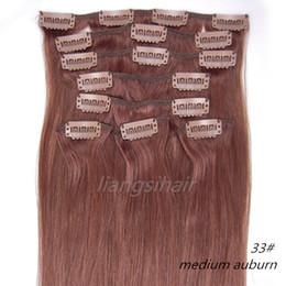 "Wholesale Remy 33 - 18""-26"" 80g 100g 120g 8pcs 33# Medium Auburn Clip in Hair Straight Brazilian Indian Peruvian Malaysian Virgin Remy Human Hair Extensions"