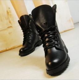 Wholesale Motorcycle Style Boots Women - Women Boots British Style Classic Women Motorcycle Martin Boots Punk Bandage Autumn Waterproof Shoes Black Shoes P048