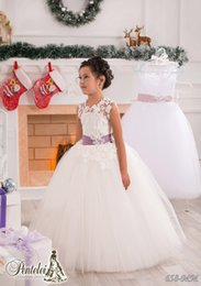 Wholesale Silver Netting - White Lace Sash Jewel Ball Gown Net Baby Girl Birthday Party Christmas Princess Dresses Children Girl Party Dresses Flower Girl Dresses