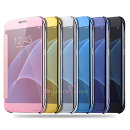 Wholesale Case Plates - For Samsung S8 Plating Mirror Leather Case Clear Window View Chrome Flip Electroplate Phone Case Cover for Galaxy S7 S6 edge