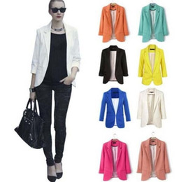 Wholesale Tassel Breast - 2016 Hot Sale Suit Feminino Women Coat Autumn Candy Color Rolled up Sleeve Boyfriend Style Feminino Slim Coat Jackets Outwear