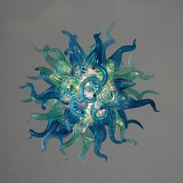 Pequeña araña de cristal azul online-Bastante azul claro y verde Cristal araña de cristal para la decoración del hogar Fuente de luz LED 100% mano vidrio soplado Tamaño pequeño araña