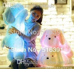 Wholesale Cotton Filling Pillow - Wholesale-Creative toy Cute Inductive dog nightlight plush toy LED glow pillow soft light up stuff toy dog pet quality pp cotton filling