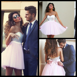 Wholesale Cute Cheap Tops - Cheap 2015 Short Pink Homecoming Dresses Sequined Top Sweetheart with Cute Bow Sash Backless Mini Prom Party Dresses