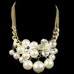 Wholesale Beautiful Pearl Jewellery Necklaces - 2014 Fashionable Luxury Vintage Style Jewellery Faux Pearl Choker Necklaces&Pendants Women Beautiful Chain order<$18 no tracking