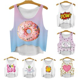 Wholesale Girls Fashion Sleeveless Top - Alisister fashion irregular girls short crop tops summer 3D women tank tops & camis sweety doughnut diamond sleeveless vest FG1510