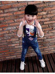 Wholesale Girls Overalls Skirt Children - Girls fall new denim overalls, 2015 children in the children's recreational pants braces skirt Han edition of fashion BH1235