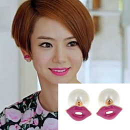 Wholesale Red Lip Studs - 10pairs Fashion Sexy Womens Temptation Red Enamel Lip Pearl Double Sided Stud Earrings Statement Nightclub Jewelry Gift Free