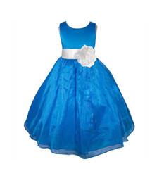 Wholesale Taffeta Purple Bridesmaid Dress Bridal - Royal blue Flower Girl dress sash pageant organza wedding bridal recital children bridesmaid toddler elegant