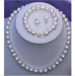 Wholesale Pearl Chain Necklace Set - NEW ARRIVE AAA+10-11mm SOUTH SEA White Pearl Necklace  Bracelet  Earring Set 14k