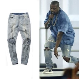 Wholesale Jeans Broken - Men Broken Destroy Jeans Kanye Fashion West Knee Havoc Hole Stretch Jeans Slim Fit Trousers 30-36