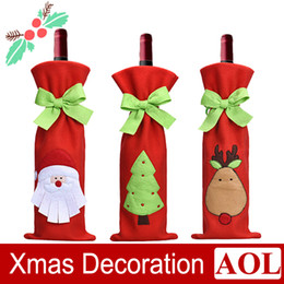Wholesale Cartoon Ornaments - Christmas Wine Bags Wine Cover Christmas Ornaments New Xmas Santa Claus Wine Bottle Cover Bag Christmas Dinner Party Table Decor
