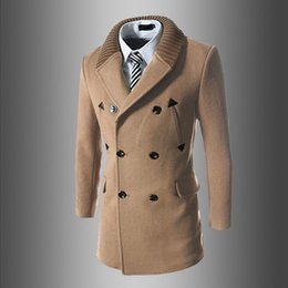 Wholesale long classic winter coats - Wholesale- 2017 New Mens Winter Coats Fashion Casual Classic Trenchs Fit Turn-down Collar Jackets Coats Free Shipping For male 755