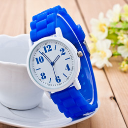 Wholesale Orange Jelly Bracelet - Newest hollow pointer Watch Geneva Rubber Jelly Watch silicone cream candy Fresh color Numerical Women's Bracelet Watch