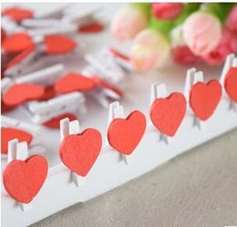 Wholesale Love Heart Umbrellas - 50pcs bag, Mini Wooden Red Heart Pegs Wedding Table Place Card Holders Craft Love