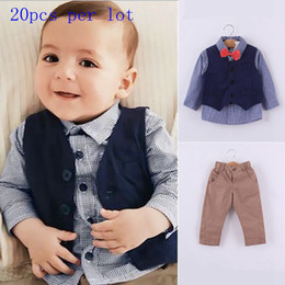 Wholesale Collared Shirt For Baby - 2015 Hot sale Spring Children gentleman outfits for Baby boys long sleeve cotton shirt +vest +pants outfits High quality