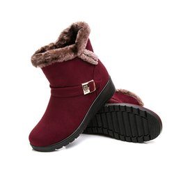Wholesale red fox sale - Wholesale-[3 Colors] Mid-calf Round Toe Women Snow Boots Fox Fur Button Women Winter Boots Hot Sale High Quality
