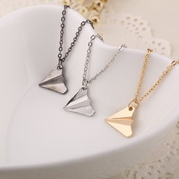 Wholesale Christmas Directions - airplane Pendant necklaces band One Direction replica Origami Paper Plane Necklaces simple Fashion Jewelry women men china manufacturers