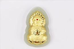 Wholesale Kwan Yin Statues - Free shipping Antar Guanyin Kwan-yin Bodhisattva Buddha Statue necklace Neutral packing Gold inlaid jade pendant Yellow AU4862