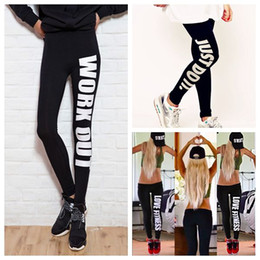 Wholesale Work Out Clothing - Women Sports yoga running Leggings Work Out Fitness Leggins Print Letter Just Do It Legging Elastic Ladies Gym Clothes Workout Sportwear