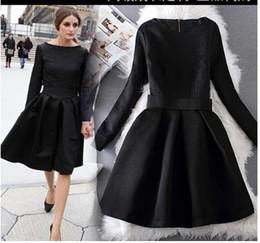 Wholesale Dress Knee Length Long Sleeve - Olivia Palermo Elegant Black Dresses Jacquard Long Sleeve Vintage Hoppen Style A-line Ball Gowns Lady Slim Midi Casual Dresses for Work