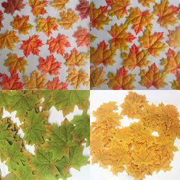 Wholesale Wholesale Silk Maple Leaves - Wholesale- 100 Pcs Fall Fake Silk Leaves Wedding Favor Autumn Maple Leaf Wedding Decoration 9Y17