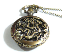 Wholesale Dragon Quartz - new large Chinese Zodiac Sign Dragon Pierced retro pocket watch necklace sweater chain fashion jewelry wholesale fashion watch