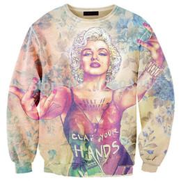 Wholesale Marilyn Monroe Hoodie - FG1509 Women men harajuku 3d Character print Marilyn Monroe Crewneck Sweatshirt Pullover Hoodies Streetwear Sweat shirt outwear