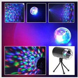 Wholesale Led Laser Light Shows - EU 220V  US 110V colours Mini Laser Projector 3w Light Full Color LED Crystal Rotating RGB Stage Light Home Party Stage Club DJ Show