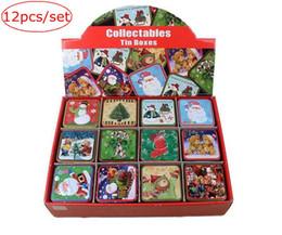 Wholesale Tinplate Tins Wholesale - retail xmas 12pcs set Fashion Santa Claus Tin Box Christmas Tinplate Candy Boxes Tea Caddy Cookie Sundries Storage Case free ship with box