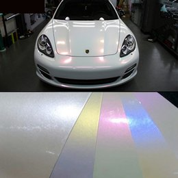 Wholesale White Sticker Air Free - 2015 hot sale 1.52x20m(5x65) glossy finish pearl white chameleon vinyl film air bubble free for vehicle full wraps 4 colors