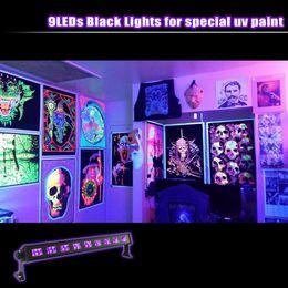poster schwarzes licht Rabatt NEUE UV LED Bar Schwarz Leuchte 9LEDx3W Schwarzlicht Glow Party Halloween Disco DJ Poster Tapisserie und UV Körperbemalung Heißer Verkauf