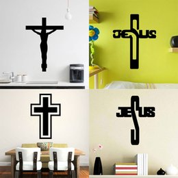 Wholesale Christian Stickers - 4 styles Removable Art Cross Jesus God Christian PVC Decal Wall Sticker Mural Home Living Room Bedroom Decor Free shipping
