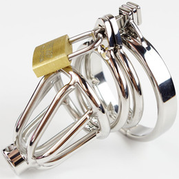 Wholesale Cock Sounding Urethra - Double Rings Male Chastity Cock Cage With Removable Urethra Sound Catheter Barbed Anti-Shedding Ring Sex Toy
