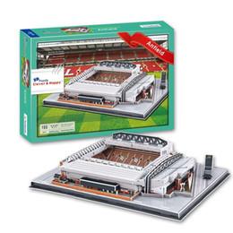 Wholesale Souvenirs Toys - New Hot Sale 3D Puzzle Stadium Model Liverpool Anfield Stadium Souvenir Soccer Football Pitch Paper Model Toys Fans Decoration
