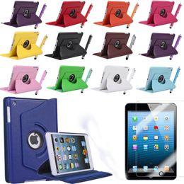 Wholesale Ipad Mini Rotation - 360 Degree Rotation Tablet Case+Screen Protector Pu Leather Rotating Case Smart Cover Stand For Apple ipad ,ipad mini,ipad Air