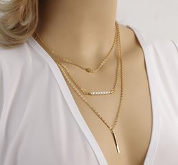 Wholesale Wholesale Imitation Pearl Strands - New Fashion Multi Layer Gold Plated chain choker collar necklace Multilayer Bar pendant gift for women girl FE