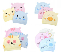 Wholesale Infant Sleep Hat - Newborn cotton cap infant lovely rabbit sleeping hat boys and girls cartoon caps 3 color leisure Caps