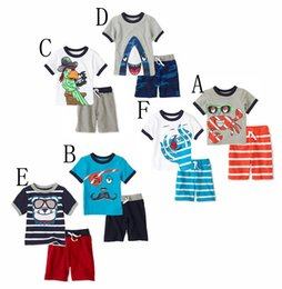 Wholesale Olive Green Coats - Boys short sleeve kids leisure suit cartoon stripe 100% cotton children clothing sets 5 colors for 2-6age