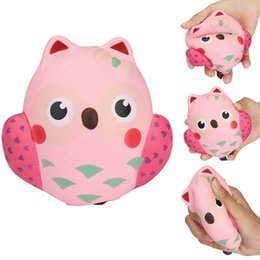 Wholesale Broken Phones - 12CM Squishy Kawaii Cute Pink Owl PU Soft Slow Rising Phone Strap Squeeze Break Kids Toy Relieve Anxiety Fun Gift New