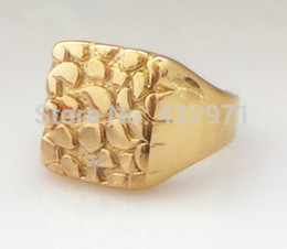 Wholesale Mens Diamond Rings Wholesale - best gift high quality 18k Solid Yellow Gold   Silver Stainless Steel Nugget Diamond Cut Mens Ring