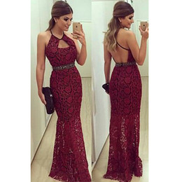 Wholesale Two Piece Evening Gowns Online - Modest Lace Mermaid Prom Dresses Long Jewel Sleeveless Mermaid Evening Gowns Backless Floor Length Women Special Occasion Party Dress Online