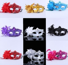 Wholesale Sexy Eye Masks - Dance party holiday mask Women Hallowmas Venetian eye Sexy masquerade mask with flower feather Easter mask G1173