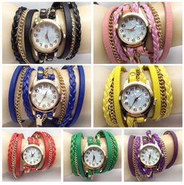 Wholesale Women Chain Wrist Watches - 2017 Handmade Braid weave watch wristband bracelets watches PU leather retro vintage Chain wrist watch women lady charming watches gifts