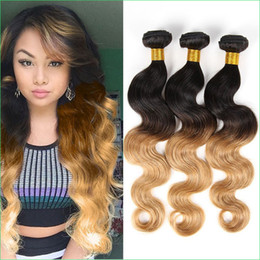 Wholesale Two Toned Hair Weave Styles - Peruvian Ombre Body Wave Human Hair Weft Extension,Celebrity Style Pre-Colored 1B 27 Two Tone Ombre Peruvian Hair Weave Cuticle Healthy 3pcs