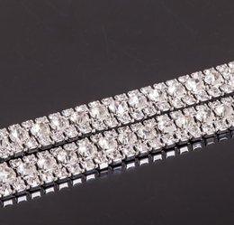 Wholesale Silver Plated Wedding Cake Stand - MIC Hot sell 3 Row Costume Applique Crystal Rhinestone Trims Silver x 1 Yard Wedding Decorations 13020627