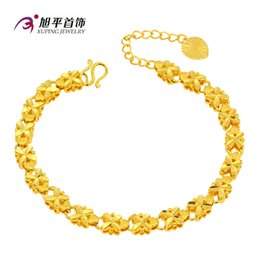 Wholesale Charm Wholesale Source - 100% 24K gold-plated jewelry brass car flower clover bracelet gold fire source of foreign trade